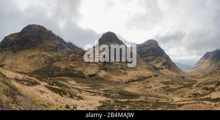 Great Britain, Scotland, Highlands, Glencoe, valley view and Three Sisters on a cloudy day