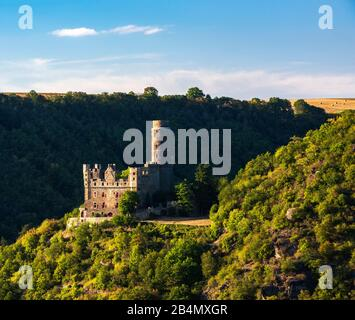 Germany, Rhineland-Palatinate, St. Goarshausen, World Heritage cultural landscape Upper Middle Rhine Valley, Maus Castle - Stock Photo