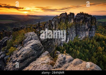 Schrammsteine, Elbe Sandstone Mountains, Saxon Switzerland, Saxony, Germany - Stock Photo