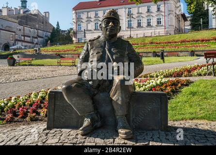 Good Soldier Svejk statue, 2008, by Jacek Michal Szpak at Rynek (Market Square) in Przemysl, Malopolska, Poland - Stock Photo