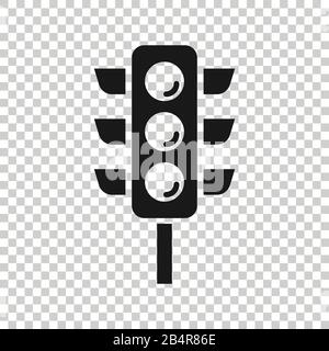 Semaphore icon in flat style. Traffic light vector illustration on white isolated background. Crossroads business concept. - Stock Photo
