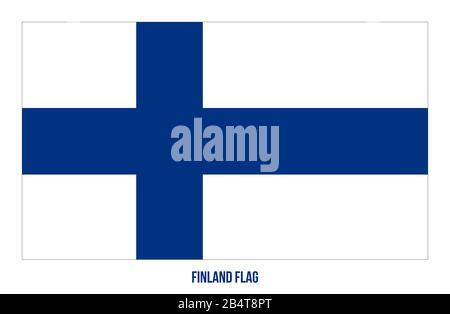 Finland Flag Vector Illustration on White Background. Finland National Flag. - Stock Photo