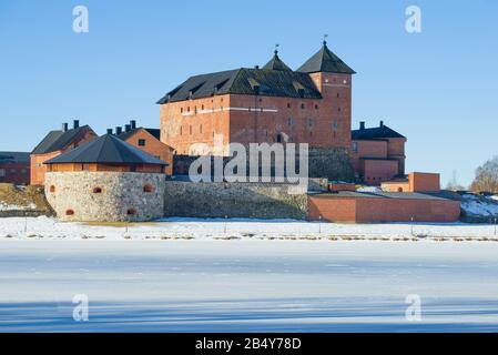 The old fortress-prison Hameenlinna close up on a sunny March day. Finland - Stock Photo
