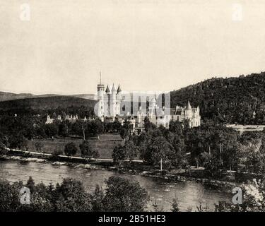 Balmoral castle, summer residence of the British Royal Family. Great Britain, Scotland, Aberdeenshire, Europe. Old photograph late 19th century from P - Stock Photo