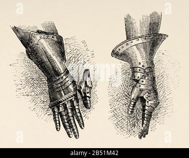 Gauntlet or mitten, were part of the armor worn by the knights of medieval times. They were metal gloves that they used to protect their fingers, hand - Stock Photo