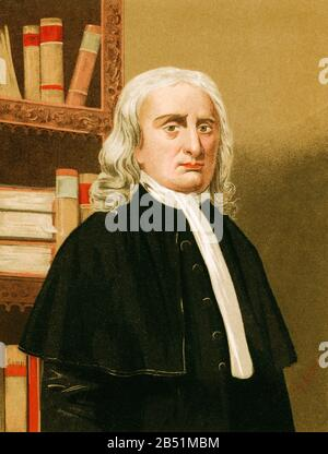 Old color lithography portrait. Isaac Newton ( 1642-1727) English physicist, theologian, inventor, alchemist and mathematician. He is the author of th - Stock Photo