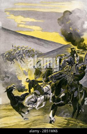 Heroic defense of a German battery resisting an attack by the English cavalry First World War. First World War illustrated by Augusto Riera - Stock Photo