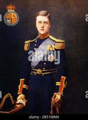 Color portrait of Edward VIII of the United Kingdom. Edward Albert Christian George Andrew Patrick David, known as Duke of Windsor - Stock Photo