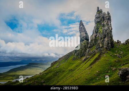 Man of Storr pinnacles during cloudy day, Isle of Skye, Scotland, UK - Stock Photo