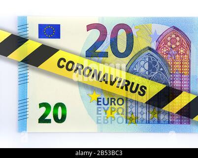Coronavirus impact on Euro currency and European Unioun economy. Concept image. Digital montage.