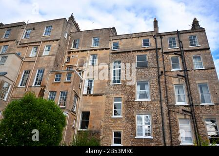 The rear view of Georgian terraced housing, Marlborough Lane, Bath, Somerset - Stock Photo