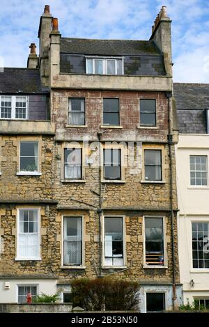 The rear view of Georgian housing, Catharine Place, Bath, Somerset - Stock Photo