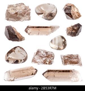 set of various Smoky Quartz gemstones isolated on white background - Stock Photo