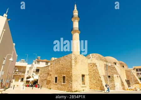 Rethymno, Crete, Greece, Jul 2019 The Neratzes Mosque square, today houses the Municipal Odeon - Stock Photo