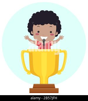 Illustration of an African American Kid Boy Talking into a Microphone on a Lectern Shaped as Trophy - Stock Photo