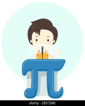 Illustration of a Kid Boy Giving a Speech on a Lectern Shaped as Pi Symbol with Microphone - Stock Photo