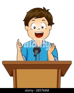 Illustration of a Kid Boy Speaker Talking Using a Lectern with Microphone - Stock Photo