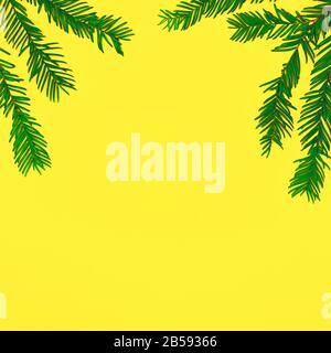 Green leaves on yellow with copy space. Summer creative minimal nature background - Stock Photo