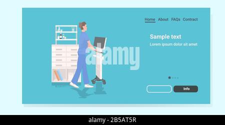nurse using medical equipment doctor in uniform female hospital worker full length copy space horizontal vector illustration - Stock Photo