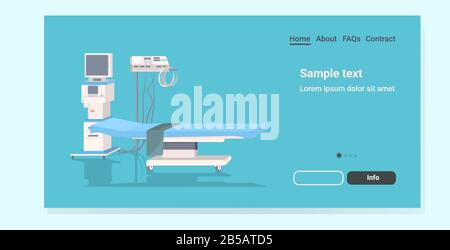 life support machine and bed at hospital ward or operating room medicine healthcare emergency medical equipment concept horizontal copy space vector illustration - Stock Photo