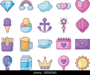 sun and kawaii icon set over white background, flat line style, vector illustration - Stock Photo