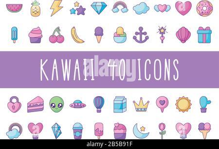 cactus and kawaii icon set over white background, flat style, vector illustration - Stock Photo