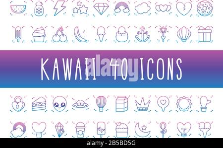 alien and kawaii icon set over white background, gradient line style, vector illustration - Stock Photo