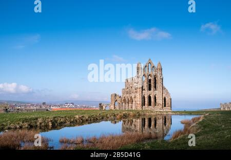 Whitby Abbey, the ruined remains of a 7th century Benedictine Abbey located on the North Yorkshire coast, UK, and a Grade 1 Listed building.