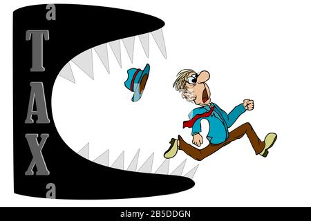 Businessman running away from Taxes assessment monster. Financial exploitation of the business concept.Heavy tax burden.Stock vector isolated on white - Stock Photo