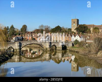 View across the river Medway at Aylesford village in Kent, UK Stock Photo
