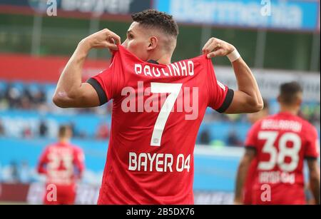 firo: 07.03.2020, Fuvuball, 2019/2020, 1.Bundesliga: Bayer Leverkusen - Eintracht Frankfurt 4: 0 jubilation, Paulinho, from his goal for 3: 0 | usage worldwide - Stock Photo