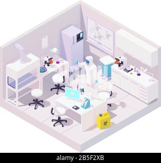 Vector isometric laboratory and scientist with samples of coronavirus - Stock Photo