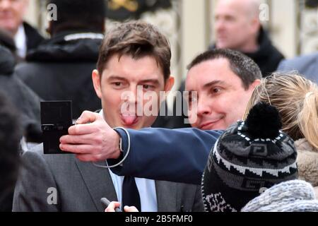 London, UK. 08th Mar, 2020. Sam Riley attends premiere of biographical drama, about Polish scientist Marie Sklodowska-Curie, to coincide with International Women's Day, at Curzon Mayfair, London London, UK - 8 March 2020 Credit: Nils Jorgensen/Alamy Live News