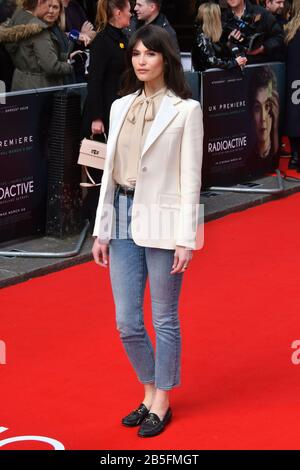 London, UK. 08th Mar, 2020. Gemma Arterton attends premiere of biographical drama, about Polish scientist Marie Sklodowska-Curie, to coincide with International Women's Day, at Curzon Mayfair, London London, UK - 8 March 2020 Credit: Nils Jorgensen/Alamy Live News