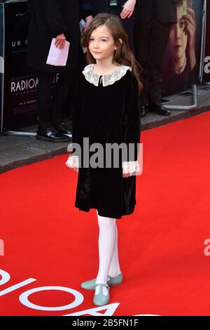 London, UK. 08th Mar, 2020. Indica Watson attends premiere of biographical drama, about Polish scientist Marie Sklodowska-Curie, to coincide with International Women's Day, at Curzon Mayfair, London London, UK - 8 March 2020 Credit: Nils Jorgensen/Alamy Live News