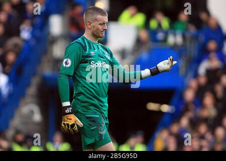 London, UK. 08th Mar, 2020. Jordan Pickford, the goalkeeper of Everton in action. Premier League match, Chelsea v Everton at Stamford Bridge in London on Sunday 8th March 2020. this image may only be used for Editorial purposes. Editorial use only, license required for commercial use. No use in betting, games or a single club/league/player publications. pic by Steffan Bowen/ Credit: Andrew Orchard sports photography/Alamy Live News