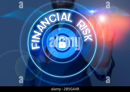 Text sign showing Financial Risk. Business photo showcasing any of various types of risk associated with financing