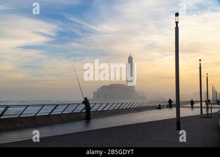 scenic view of Hassan II Mosque at sunrise - Casablanca, Morocco