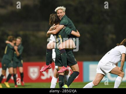 Parchal, Portugal. 08th Mar, 2020. LAGOS, PORTUGAL: MAR 7TH talian forward Barbara Bonansea (11) pictured celebrating her goal with Italian Stefania Tarenzi (14) and the 0-2 lead for Italy during the female football game between the national teams of New Zealand called the Football Ferns and Italy, called the Azzurre on the second matchday of the Algarve Cup 2020, a prestigious friendly womensoccer tournament in Portugal David Catry/SPP-Sportpix Credit: SPP Sport Press Photo. /Alamy Live News - Stock Photo