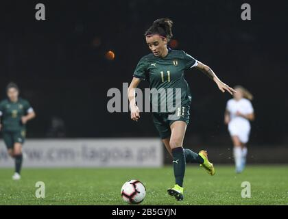 Parchal, Portugal. 08th Mar, 2020. LAGOS, PORTUGAL: MAR 7TH Italian forward Barbara Bonansea (11) pictured during the female football game between the national teams of New Zealand called the Football Ferns and Italy, called the Azzurre on the second matchday of the Algarve Cup 2020, a prestigious friendly womensoccer tournament in Portugal David Catry/SPP-Sportpix Credit: SPP Sport Press Photo. /Alamy Live News - Stock Photo