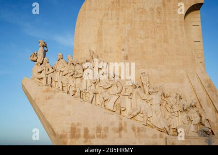 Detail of the Padrao dos Descobrimentos (Monument to the Discoveries) monument in Belem district in Lisbon, Portugal, in the morning. - Stock Photo