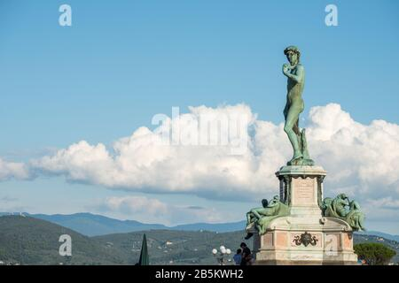 Bronze cast of David by Michelangelo standing at Piazzale Michelangelo in Florence, Tuscany - Stock Photo