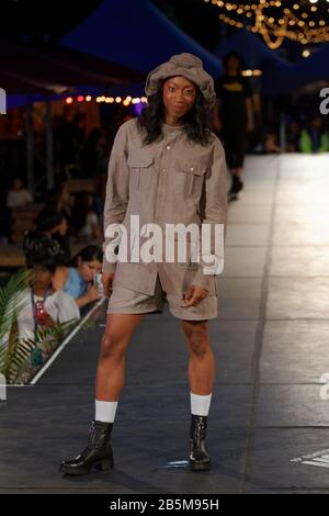 Quebec,Canada.  A model poses on the runway at the Once Again fashion show held during the Fashion and Design Festival in Montreal - Stock Photo