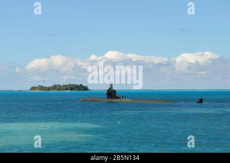 U.S. Navy aboard the Los Angeles-class nuclear-powered attack submarine USS La Jolla transits the Philippine Sea following a port visit January 16, 2013 in Saipan. - Stock Photo