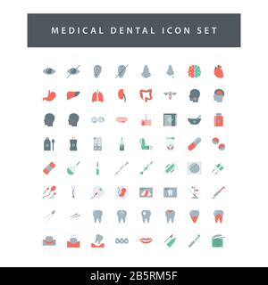 Medical icon set with colorful modern Flat style design.