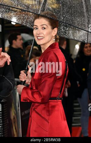 London, UK. 08th Mar, 2020. Rosamund Pike attends the Premiere of Radioactive held at the Curzon Mayfair in London. Credit: SOPA Images Limited/Alamy Live News