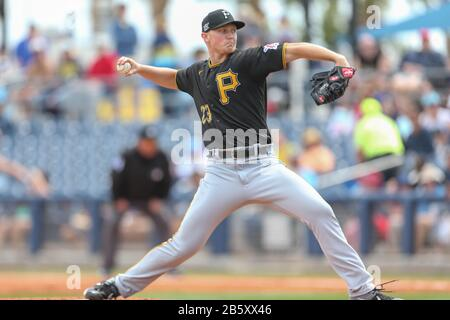 Pittsburgh Pirates starting pitcher Mitch Keller (23) delivers a pitch during a spring training baseball game against the Tampa Bay Rays, Sunday, March 8, 2020, in Port Charlotte, Florida, USA. (Photo by IOS/ESPA-Images) - Stock Photo