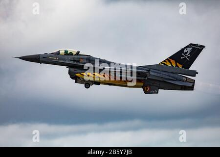 Belgian Air Force General-Dynamics F-16AM 'FA-94' from No.31 'Tiger' Squadron - Stock Photo
