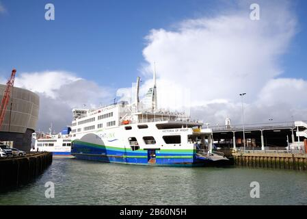 The historic Camber harbour in old Portsmouth with two Wightlink car ferries at their moorings, Portsmouth Hampshire England UK - Stock Photo