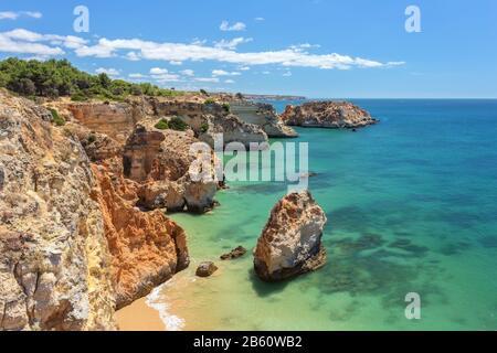 Beautiful sea summer beach in Portugal. Portimao Algarve - Stock Photo